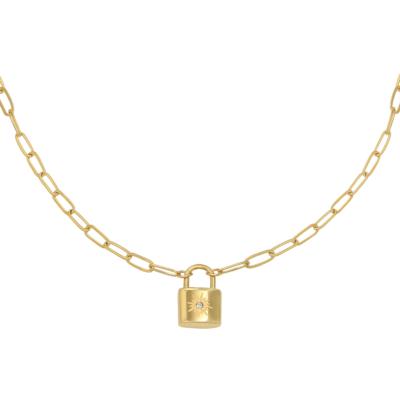 Ketting Love Lock goud gouden dames kettingen necklages schakelketting met slotje zikornia steentje slot kopen kado bestellen