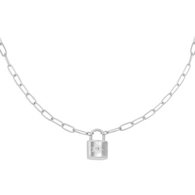 Ketting Love Lock zilver zilveren dames kettingen necklages schakelketting met slotje zikornia steentje slot kopen kado bestellen