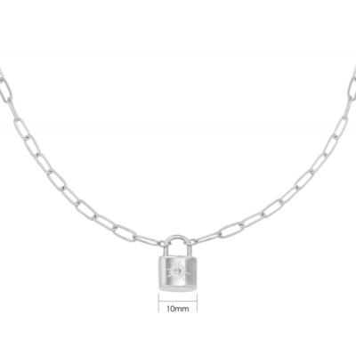 Ketting Love Lock zilver zilveren dames kettingen necklages schakelketting met slotje zikornia steentje slot kopen kado bestellen detail