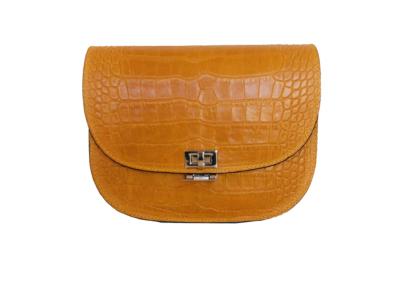 Leren Tas Half Rond Croco geel gele leren slangenprint tasssen crocoprint leder dames bestellen schoudertassen