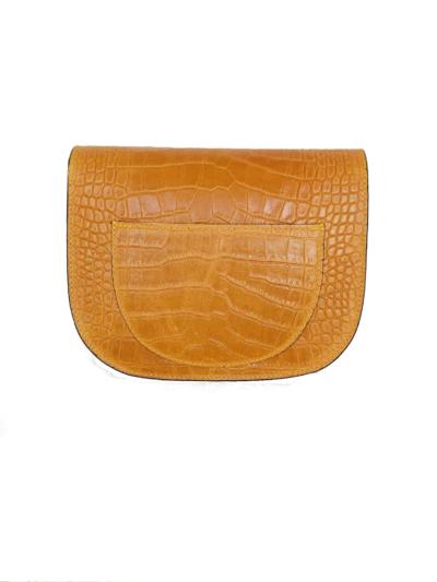 Leren Tas Half Rond Croco geel gele leren slangenprint tasssen crocoprint tassen leder dames kopen schoudertassen b