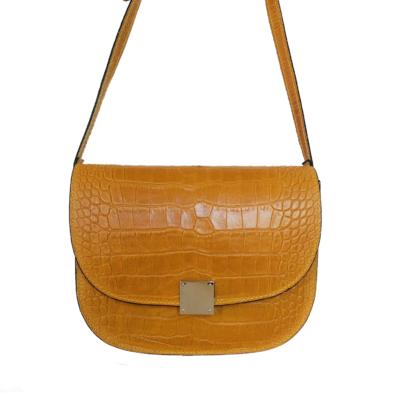 Leren Tas Half Rond Croco geel gele leren tasssen crocoprint tassen leder dames kopen schoudertassen trends