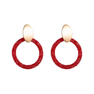 Oorbellen Candy Sparks rood rode dames oorbellen goud ronde glinster glitter oorbellen statement earrings kopen bestellen