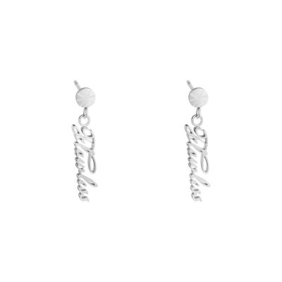 Oorbellen Flawless zilver zilveren oorbellen met tekst yehwang sieraden dames online kopen bestellen oorhangers kado