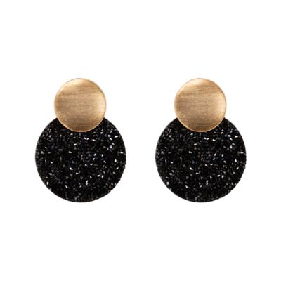 Oorbellen Full Shimmer zwart zwarte dames oorbellen goud ronde glinster glitter oorbellen statement earrings kopen bestellen