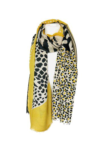 Sjaal Happy Tiger geel gele zwart gekleurde print sjaal dames sjaals omslagdoekken dieren print trendy giuliano kopen