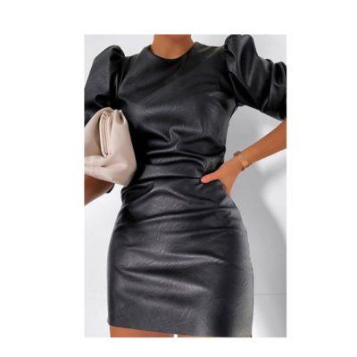 zwarte leren jurk met pof mouwen trendy dames jurken kopen bestellen