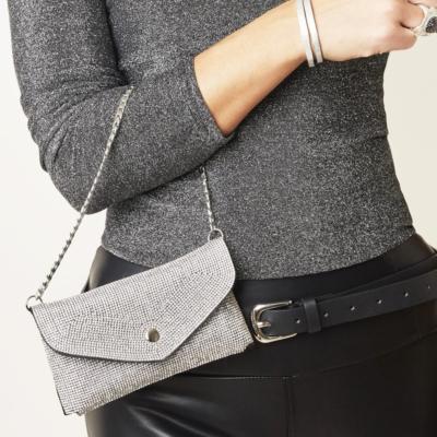 Heuptas Glitter Night zilver zilveren riemtas strass bling zilveren ketting trendy kopen