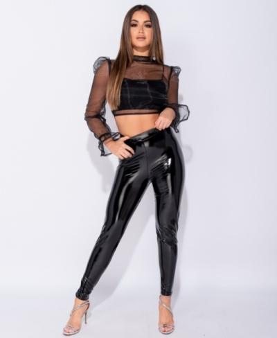 Lak Legging zwart zwarte wet-look-high-waist-leggings glans sexy dames kopen