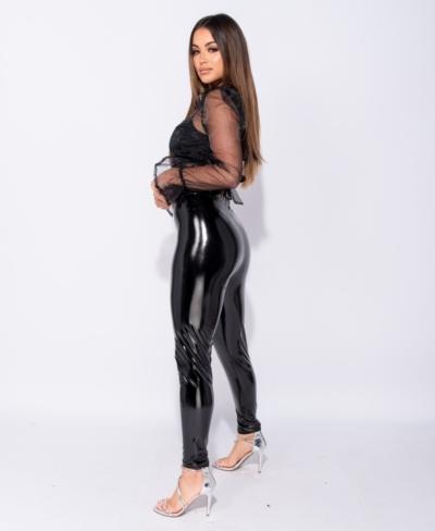 Lak Legging zwart zwarte wet-look-high-waist-leggings glans sexy dames kopen side