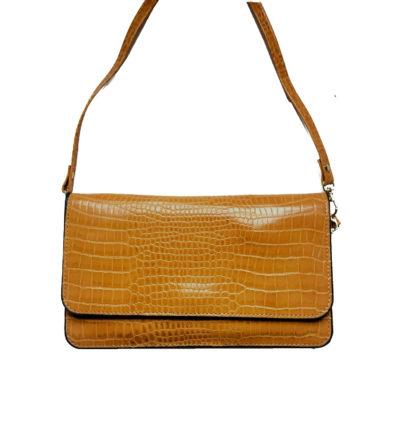 Portemonnee-Clutch-Bag-Croco-geel-gele-dames-schoudertasjes-portemonnees-polsband-kroko-print-giuliano-hengsel