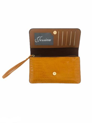 Portemonnee-Clutch-Bag-Croco-geel-gele-dames-schoudertasjes-portemonnees-polsband-kroko-print-giuliano-kopen