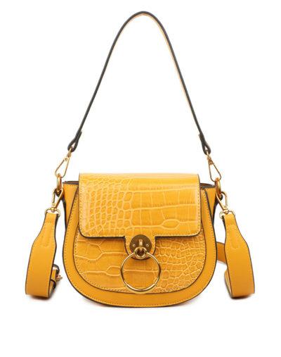 Schoudertas-Snake-Gold-Ring-geel gele -tassen-itbags-kunstleder-snake-giuliano-tas-luxe-trendy-kopen
