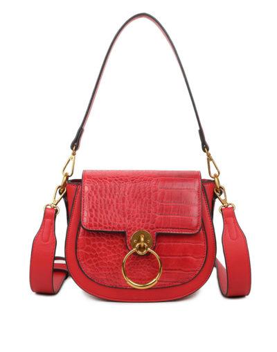 Schoudertas-Snake-Gold-Ring-rood rode-tassen-itbags-kunstleder-snake-giuliano-tas-luxe-trendy-kopen