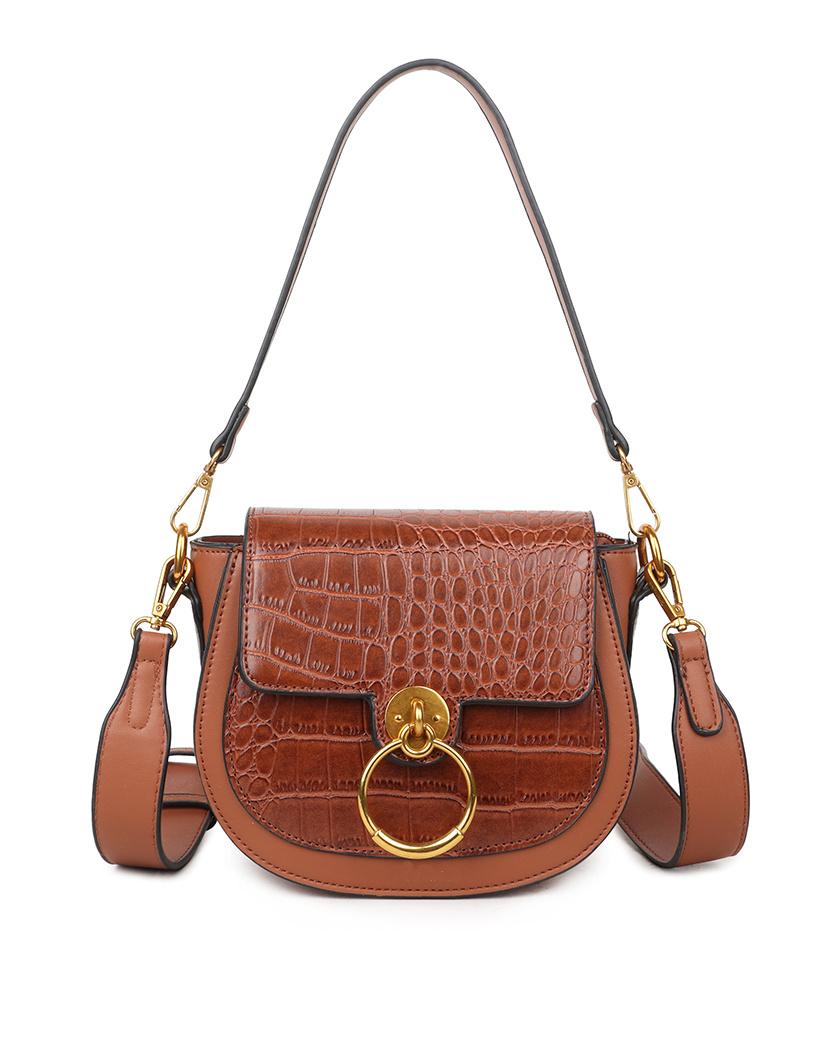 Schoudertas-Snake-Gold-Ring-bruin bruine look a like-tassen-itbags-kunstleder-snake-giuliano-tas-luxe-trendy-kopen
