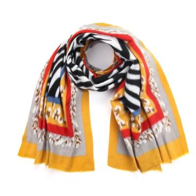 Sjaal Colorful Zebra geel rood witte multi print warme zachte print sjaal