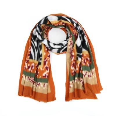 Sjaal Colorful Zebra oranje bruin wit multi print warme zachte print sjaal