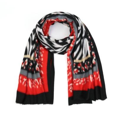 Sjaal Colorful Zebra zwart rood wit multi print warme zachte print sjaal