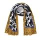 Sjaal Happy Koe geel gele zwart wit multi print warme zachte print sjaal