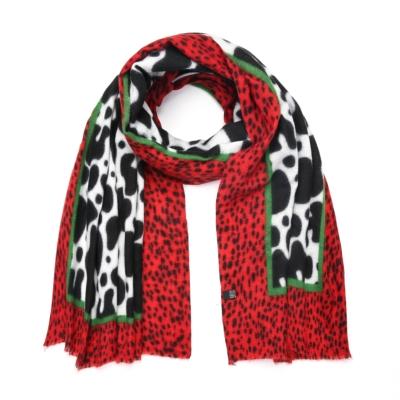 Sjaal Happy Koe rood rode zwart wit multi print warme zachte print sjaal