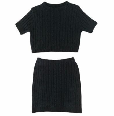 Zwart-Tweedelig-Gebreide-top-met-rok-kabelpatroon-dames-kleding-bestellen-trendy- fashion musthaves