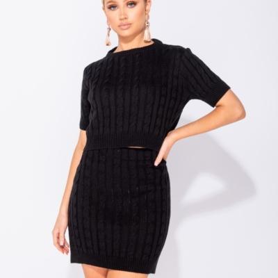 Zwart Tweedelig Gebreide top met rok kabelpatroon dames kleding kopen trendy