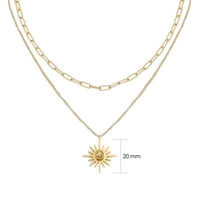 Ketting Forever Sun goud gouden dames kettingen schakelketting lagen bedel rvs neckage trendy kopen achter