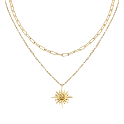 Ketting Forever Sun goud gouden dames kettingen schakelketting lagen rvs neckage trendy kopen
