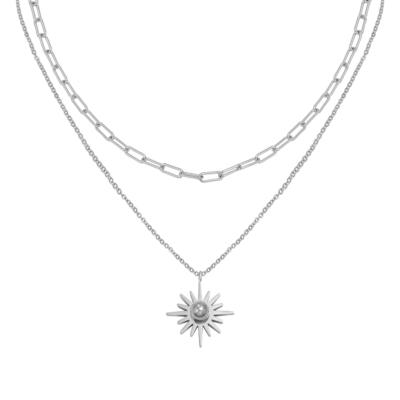 Ketting Forever Sun zilver zilveren dames kettingen schakelketting lagen bedel rvs neckage trendy bestellen