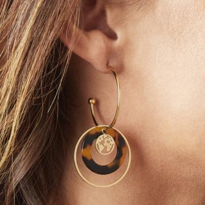 Oorbellen Explorer goud gouden dames oorbellen met bedels rvs earrings trendy bestellen kopen