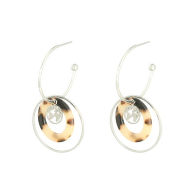 Oorbellen Explorer zilver zilveren dames oorbellen met bedels rvs earrings trendy bestellen