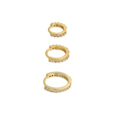 Oorbellen Setje Rounds goud gouden dames drie oorbellen met steentjes rvs earrings trendy bestellen