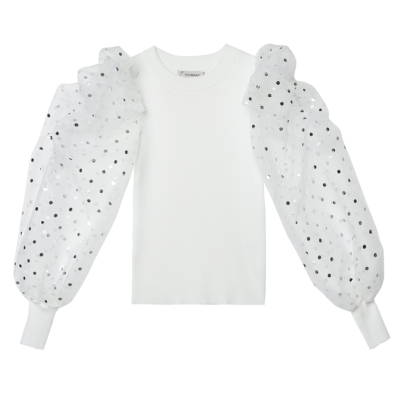 Top Confettie wit witte dames trui met doorzichtige mouwen met gouden puntjes kopen