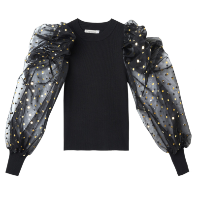 Top Confettie zwart zwarte dames trui met doorzichtige mouwen met gouden puntjes kopen
