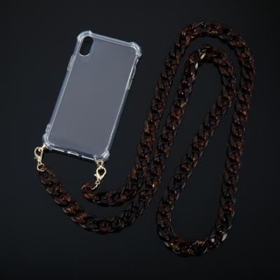 Doorzichtige Iphone Hoesje Chain bruin bruine leopard schakelketting telefoon covers met schakelketting hengsel kopen bestellen trends