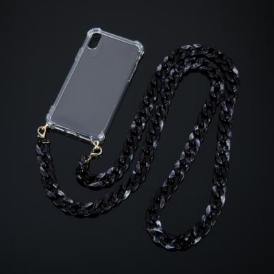 Doorzichtige Iphone Hoesje Chain zwart zwarte leopard schakelketting telefoon covers met schakelketting hengsel kopen bestellen trends