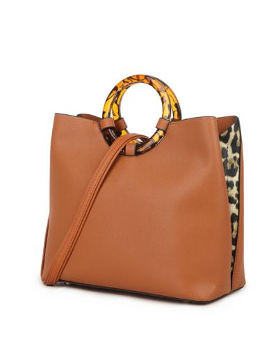Handtas Rond Handvat bruin bruine kunstleer tassen rond bruin handvat leopard zijkanten panter print trendy tassen kopen