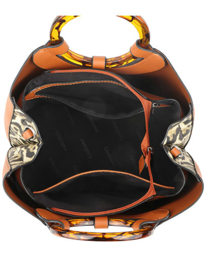 Handtas Rond Handvat zwart zwarte kunstleer tassen rond bruin handvat leopard zijkanten panter print trendy tassen binnen