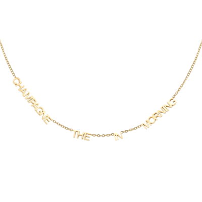 Ketting Champange In The Morning goud gouden choker tekst kettingen qoute necklage trends yehwang kettingen kopen