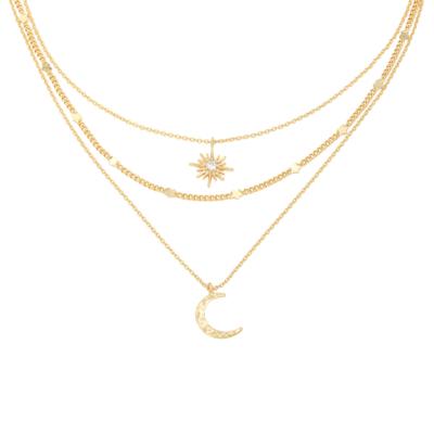 Ketting Star & Moon goud gouden kettingen set 3 lagen ketting met maan en ster bedel schakelketting kopen yewang sieraden