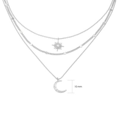Ketting Star & Moon zilver zilveren kettingen set 3 lagen ketting met maan en ster bedel schakelketting kopen yewang sieraden detail