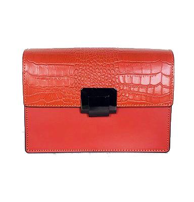 Lederen Schoudertas Classy Croco oranje orange trendy stevige schoudertassen croco klep chique dames tasssen leder kopen bestellen