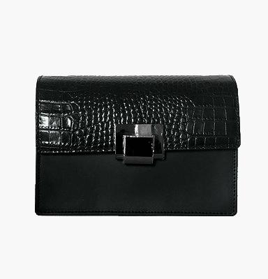 Lederen Schoudertas Classy Croco zwart zwarte trendy schoudertassen croco klep chique dames tasssen leder bestellen