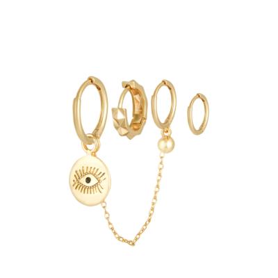 Oorbellen Setje Diamond Eye goud gouden set 4 kleine oorbellen oog bedel trendy dames sieraden online kopen yehwang