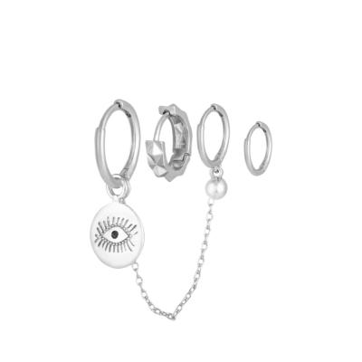 Oorbellen Setje Diamond Eye zilver zilveren set 4 kleine oorbellen oog bedel trendy dames sieraden online kopen yehwang