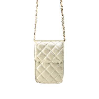 Telefoontasje Coco Chain goud gouden kleine schoudertassen gevoerde schakelketting stiksels tassen tasjes festival kopen