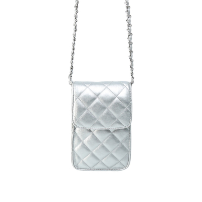 Telefoontasje Coco Chain zilver zilveren kleine schoudertassen gevoerde schakelketting stiksels tassen tasjes festival kopen