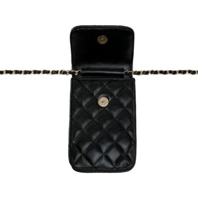 Telefoontasje Coco Chain zwart zwarte kleine schoudertassen gevoerde schakelketting stiksels tassen tasjes festival kopen binnen