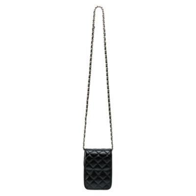 Telefoontasje Coco Chain zwart zwarte kleine schoudertassen lang gevoerde schakelketting stiksels tassen tasjes festival kopen
