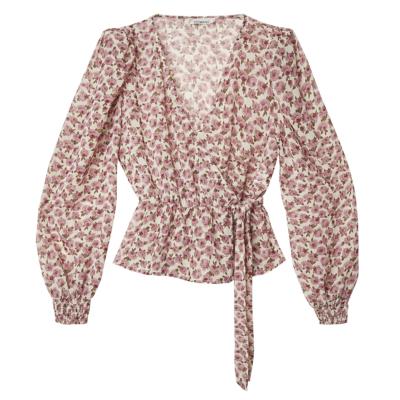 Top Spring Roses roze wit witte dames top truitjes lange mouwen romantisch v hals kleding trendy kopen bloemen blouse